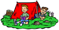 boy by tent reading